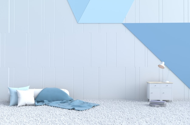 Cuscino decorativo bianco-blu, tappeto, libro, coperta per il giorno di natale Foto Premium