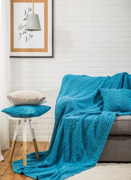 Cuscino Design Plaid Per Divano Letto Interno Scaricare Foto Premium