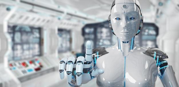 Cyborg donna bianca che punta il dito Foto Premium