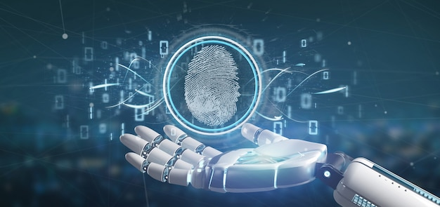 Cyborg in possesso di un'identificazione digitale delle impronte digitali e codice binario Foto Premium