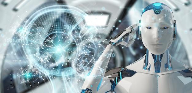 Cyborg maschio bianco che crea rappresentazione di intelligenza artificiale 3d Foto Premium