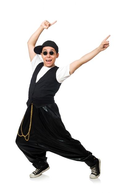 Dancing divertente del giovane isolato su bianco Foto Premium
