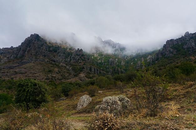 Dark ghost valley crimea, rocce e nebbia nella stagione autunnale Foto Premium
