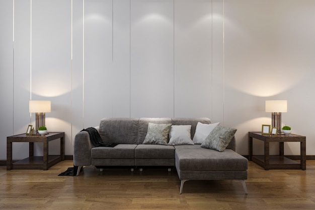 Decorazione di legno della rappresentazione 3d in salone con stile cinese del sofà Foto Premium
