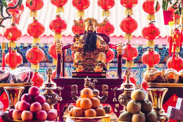 Decorazione tradizionale lanterne cinesi Foto Premium