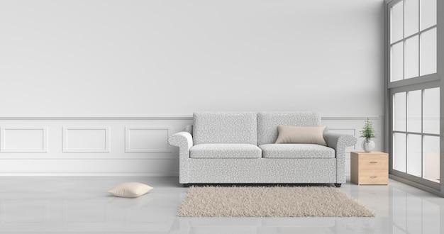 Decorazioni in camera bianca con divano color crema, cuscini, comodino in legno, finestra, moquette. Foto Premium
