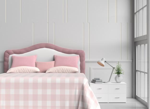 Decorazioni in camera da letto bianca con cuscini rosa e ...