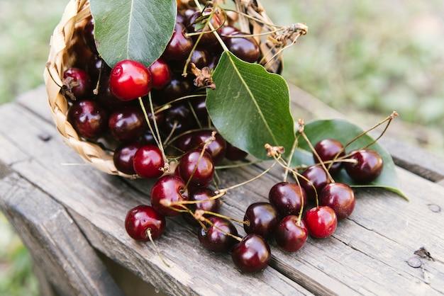 Deliziose ciliegie sulla panca di legno Foto Gratuite