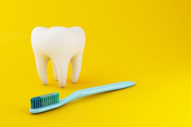 Dente 3d con spazzolino da denti Foto Premium
