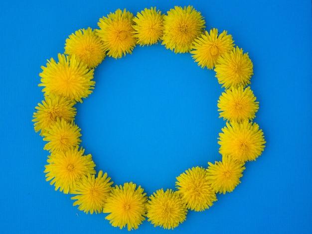 Dente di leone giallo. concetto di natura piatto estivo Foto Premium