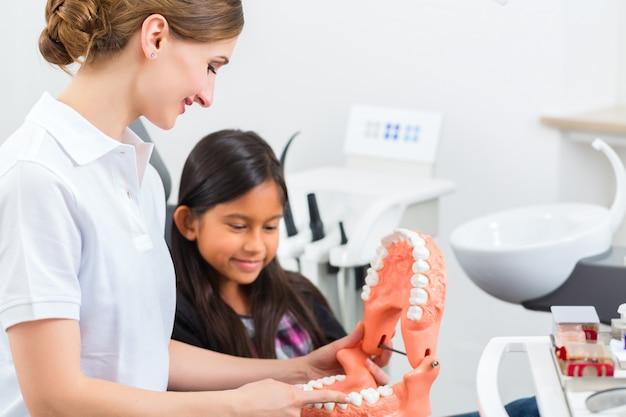 Dentista con spazzolino da denti, protesi e piccolo paziente Foto Premium