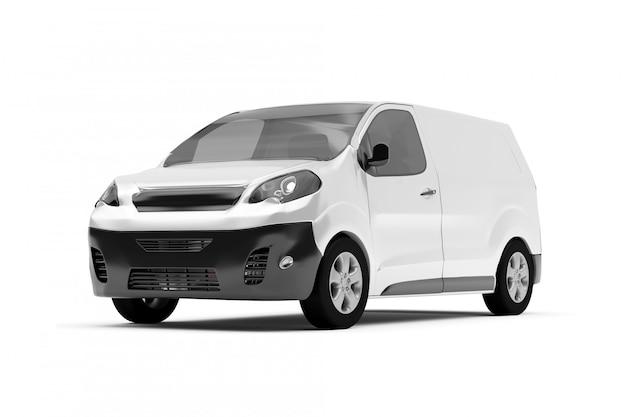 Derida su di un furgone su un fondo bianco - rappresentazione 3d Foto Premium