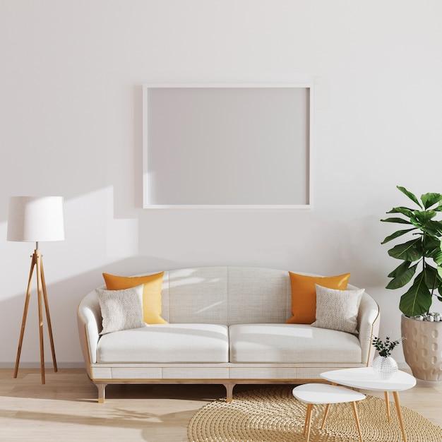 Derida sul manifesto orizzontale o sulla cornice in bianco dell'immagine nell'interno minimalista moderno, lo stile scandinavo, l'illustrazione 3d Foto Premium