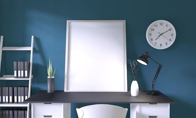 Derida sulla struttura del manifesto sull'ufficio nero del tavolo superiore e la decorazione in parete della stanza blu scuro sul pavimento di legno bianco Foto Premium