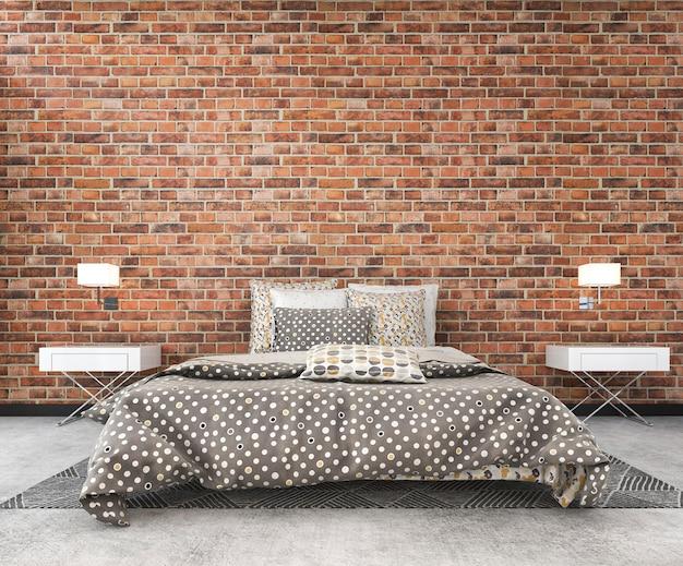 Derisione del mattone del sottotetto dell'annata della rappresentazione 3d sulla camera da letto nello stile scandinavo Foto Premium