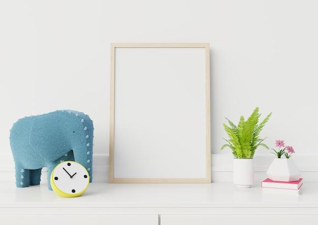 Derisione su al manifesto sulla parete bianca del salone, infanzia, rappresentazione 3d. Foto Premium