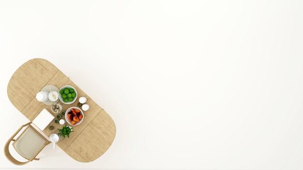 Design minimale vista sala da pranzo o dispensa - rendering 3d Foto Premium