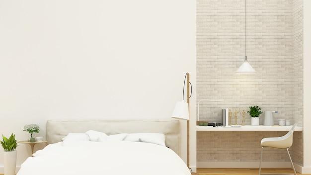 Design pulito della camera da letto e dell'area di lavoro - rendering 3d Foto Premium