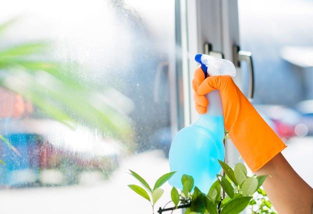 Detergente liquido spray per mani della donna sul vetro della finestra Foto Gratuite