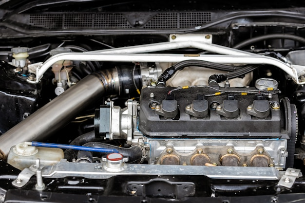 Dettagli del motore dell'auto Foto Premium