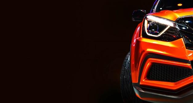 Dettaglio su uno dei fari a led auto moderne su sfondo nero Foto Premium