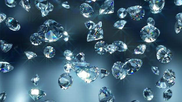 Diamanti che cadono close-up Foto Premium