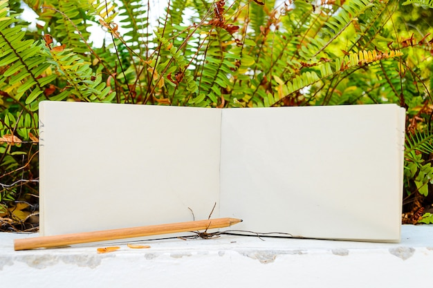 Diario, matita e piante Foto Premium