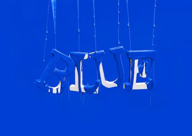 Dipingi gocciolare sulla parola galleggiante blu Foto Gratuite