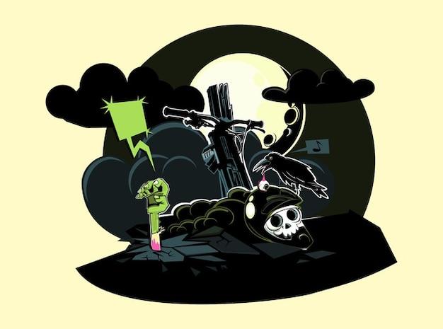 Discorso zombie cartone animato bolle tomba vettore