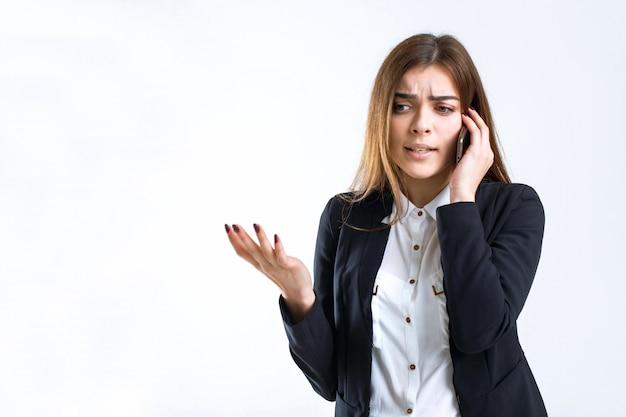 Discussione sul telefono aziendale stressata Foto Premium