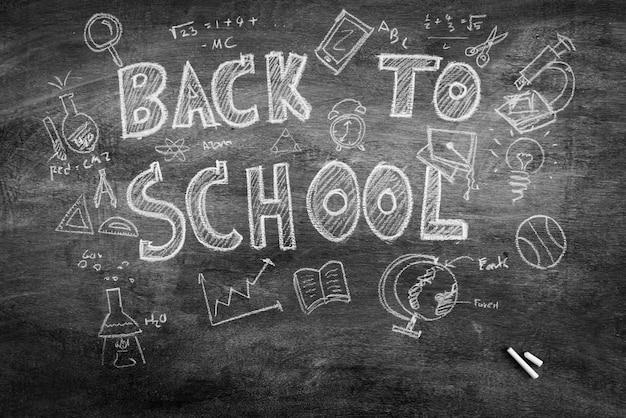 Disegno a mano libera ritorno a scuola sulla lavagna, filtrata immagine pr Foto Gratuite