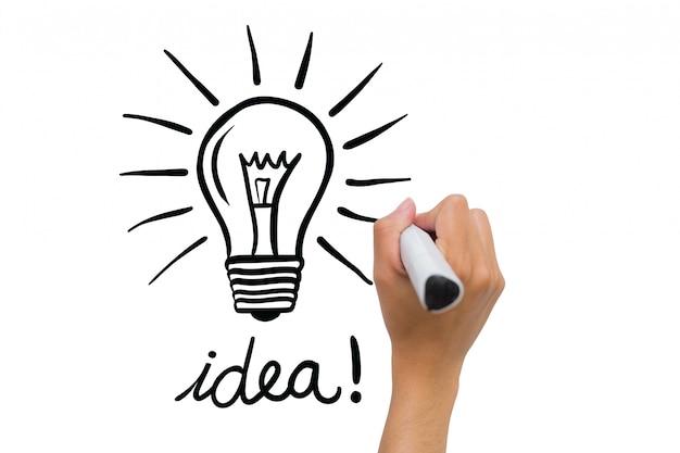 disegno a mano una lampadina e la parola idea. Black Bedroom Furniture Sets. Home Design Ideas