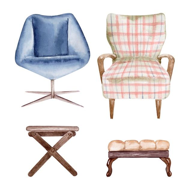 Disegno ad acquerello set di sedie e panche imbottite. elemento interno Foto Premium