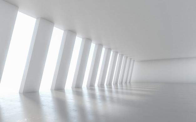 Disegno interno del corridoio illuminato vuoto astratto. rendering 3d. Foto Premium