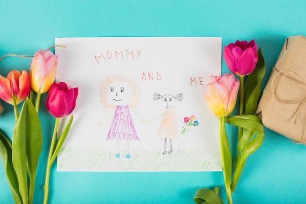Disegno per la festa della mamma con i tulipani Foto Gratuite