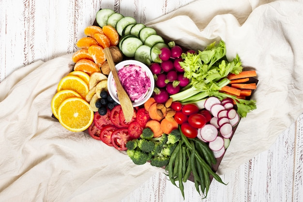 Disposizione del piatto alimentare vista dall'alto Foto Gratuite