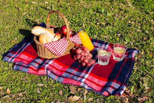 Disposizione di picnic dell'angolo alto su erba Foto Gratuite