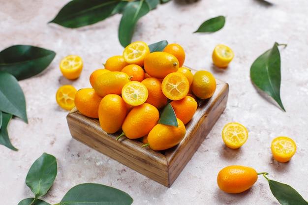 Disposizione piana dei kumquat su una superficie di calcestruzzo Foto Gratuite