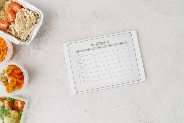 Disposizione piana del modello di piano del menu dell'alimento Foto Gratuite