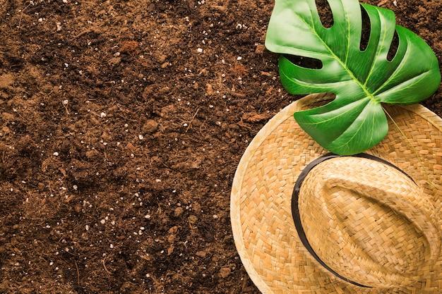 Disposizione piana di foglia e cappello tropicali su suolo Foto Gratuite