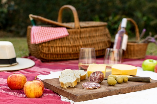 Disposizione picnic vista frontale per buongustai Foto Gratuite