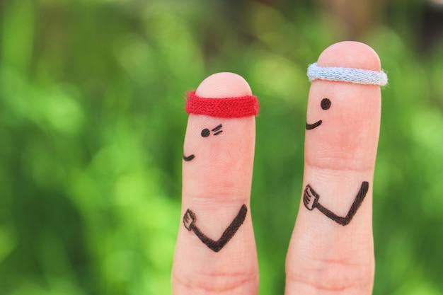 Dita arte della coppia felice negli sport. Foto Premium