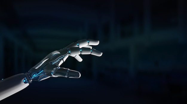 Dito puntato macchina robot intelligente Foto Premium