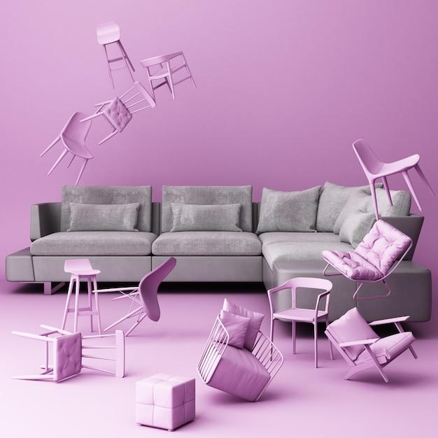 Divano grigio circondato da molte sedie galleggianti Foto Premium