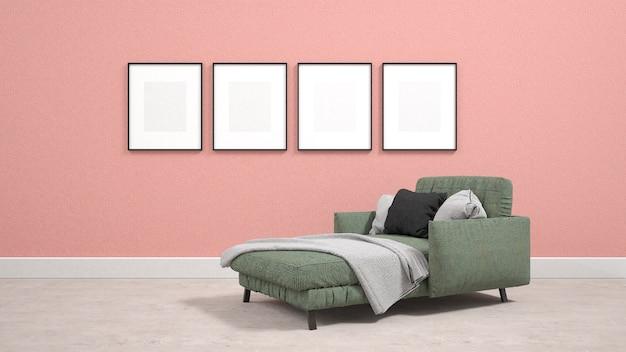 Divano letto verde nel soggiorno con poster sul muro Foto Premium