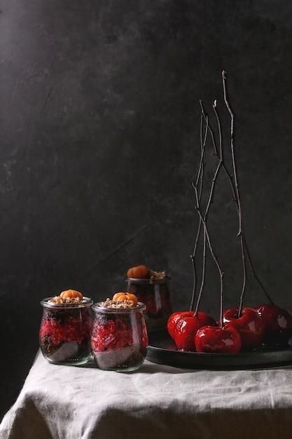 Dolce al cioccolato di halloween Foto Premium