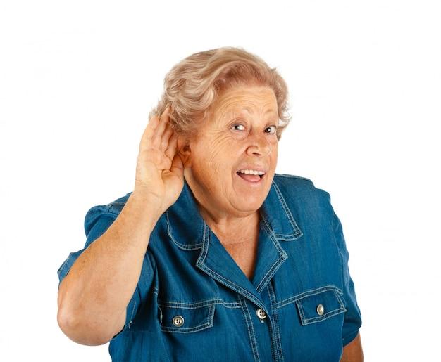 Donna anziana, problemi di udito Foto Premium