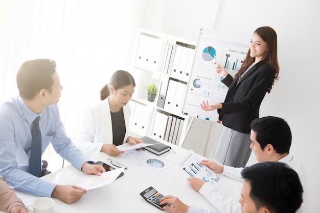 Donna asiatica di affari che presenta il suo lavoro Foto Premium