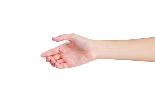 Donna che dà una mano per la facciata frontale della stretta di mano isolata su bianco Foto Premium