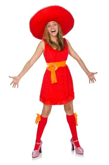 Donna che indossa il sombrero Foto Premium